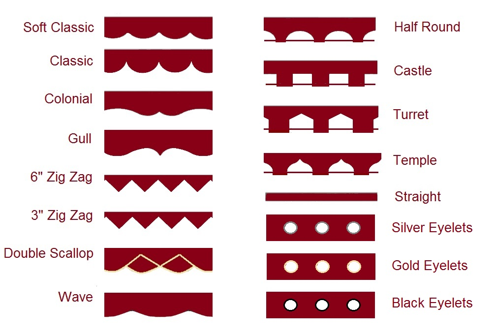 Scallop Shapes Cafe Rods Roller Blind Shapes Create