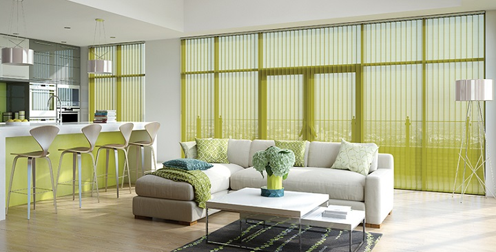 Sheer Golden Green Vertical Blind